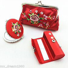Xmas Gift Red Silk Brocade Cosmetic Bag mirror lipstick box Jewelry Set