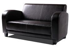 2-Sitzer POLSTERSOFA SOFA Couch ANTON Kunstleder Antikbraun Füße Nussbaumfarben