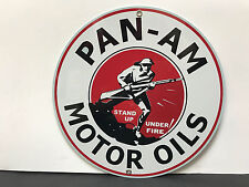 PAN AM oil man cave racing gasoline vintage round metal sign