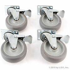 "4 Heavy Duty Caster Set 5"" Wheels All Swivel All Brake Casters Non Skid No Mark"