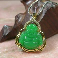 Gold Plate ICY Green JADE Pendant Buddha God  Necklace Diamond Imitation 278159