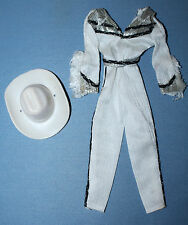1980 Barbie Western Style Jumpsuit #1757 White Hat Silver Black Outfit Cowgirl
