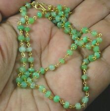 Vermeil Gold over .925 Sterling Silver Faceted Australian Chrysoprase Necklace