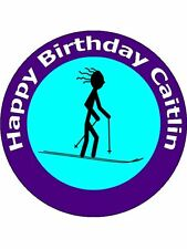 "7.5"" SKI / SKIING BIRTHDAY CAKE TOPPERS DECORATIONS PERSONALISED ON RICE PAPER"