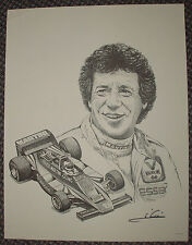 1979 MARIO ANDRETTI signed F1 MARTINI LOTUS LITHOGRAPH PRINT indy car racing irl