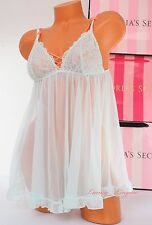 NWT Victoria's Secret Lingerie Fly-away Tulle Babydoll Lace Unlined M Light Mint
