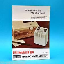 UNI-Netzteil  N 200 von 1972 | Werbezettel Werbung DDR VEB Elektronik Giessübel
