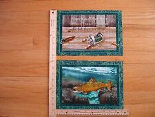 Many Fish All Their Lives Reel Lures Bait Cotton Quilt Fabric Blocks (2)