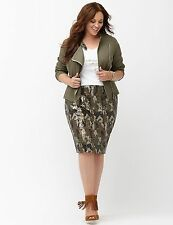 NEW Lane Bryant Womens Metallic Pencil Camo Sequin Skirt Plus size 28 W NWOT