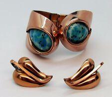 "Vtg Matisse Renoir Aqua Copper Enamel Bracelet Earrings Set - ""Sari"" in Book"