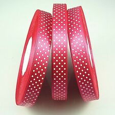 new charm 3/4(20mm)5yards satin ribbon bow with polka dots rose red