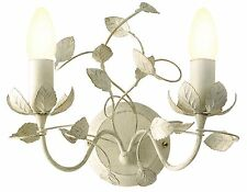 Shabby Chic Cream and Brushed Gold Wall Light Wall Lamp 2 Light New