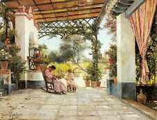 Rodriguez Manuel Garcia Y Mother And Daughter Sewing On A Patio A4 Print
