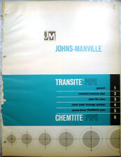 TRANSITE & CHEMTITE Pipe Catalog ASBESTOS Reinforced Plastic 1965 Johns Manville