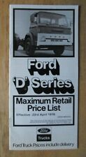 FORD D SERIES orig 1976 UK Mkt Retail Price List Brochure