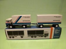 LION CAR DAF 2100 TRUCK + TRAILER - DAF NEDERLAND - WHITE 1:50 - GOOD IN BOX