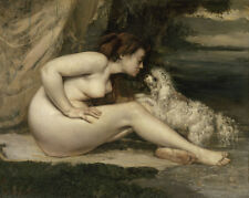 Art Paint Reproduction POSTER Gustave Courbet NUDE WOMAN WITH A DOG 1861 22x27.6