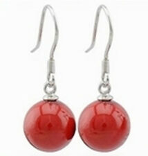 12mm Coral Red South Sea Shell Pearl 925 Sterling Silver Dangle Earrings