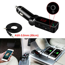 3.5mm Car AUX Bluetooth Receiver Handsfree Audio FM Speaker Adapter USB Charger