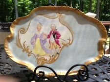 Early French Limoge Hand Painted Porcelain Tray w/Romantic Scene -Signed & dated