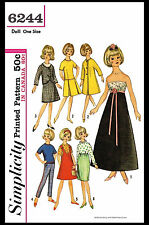 "TAMMY Barbie Jan 12"" Vintage Fashion DOLL Fabric Sewing Pattern Simplicity #6244"