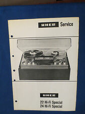 UHER 22 24 HI-FI SPECIAL REEL TO REEL SERVICE MANUAL ORIGINAL GOOD CONDITION