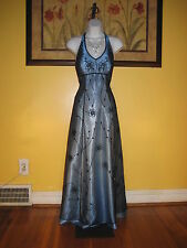 NWT Cache Sequins & Beads Steel Blue Halter Evening Gown Size 1/2