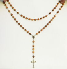 Olive Wood Rosary Necklace Holy Land Soil Jesus Cross Crucifix Catholic Prayer