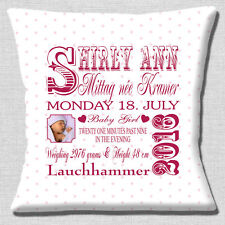 """PERSONALISED BIRTH KEEPSAKE Name Date Time Pink PHOTO 16"""" Pillow Cushion Cover"""