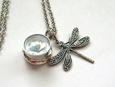Sterling Silver Pltd LOCKET NAUTICAL WORKING COMPASS & DRAGONFLY CHARM Necklace