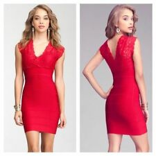 NWT bebe red double deep v neck lace bandage top dress bodycon S small club sexy
