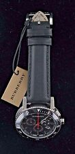 BURBERRY MEN'S BLACK DIAL CHRONOGRAPH WITH BLACK LEATHER STRAP MODEL BU9382