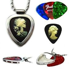 Victorian Cameo Skeleton PICKBAY Guitar Pick Holder Pendant necklace set Classic