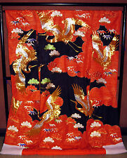 TRADITIONAL JAPANESE WEDDING KIMONO UCHIKAKE WALL HANGING ART DECOR Black Crane