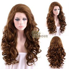"Long Curly 26"" Brown Lace Front Synthetic Wig Heat Resistant"