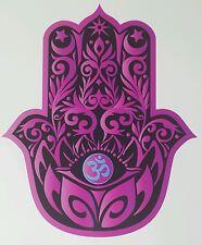 "LARGE PINK HAMSA HAND 10""x8"" with LOTUS and OM symbol yoga Vinyl Decal Sticker"