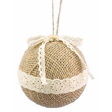 Small Natural White Stripe Burlap Ornament