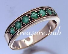 R077- Genuine 9ct SOLID Rose Gold NATURAL EMERALD ETERNITY Band Ring size M