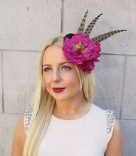 Fuchsia Pink Plum Purple Statement Pheasant Feather Fascinator Headpiece 2503
