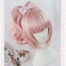 Pink Gradient Langhaar Perücken Gelockt Gewellt Lolita Wig Damen Cosplay Partei