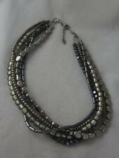 "SILPADA STERLING SILVER HEMATITE & GLASS BEAD 5 STRAND ""YOUR BEST LOOK"" NECKLACE"