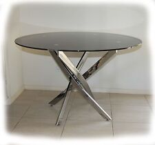 Glasgow Chrome &  Black (or Clear) Glass 1200 Round Dining Table - BRAND NEW