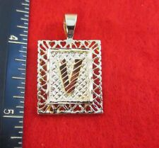 14KT GOLD EP 1 INCH FRAMED LETTER V LARGE SQUARE DIAMOND CUT INITIAL CHARM