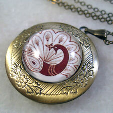 Chinese Paper Cut Art Peacock Round Brass Picture Locket Charm Pendant Necklace