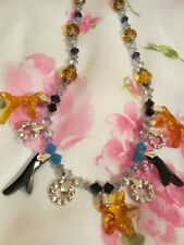 Vintage Crystal Amber Sapphire Black Silver-tone Beads Charms Necklace Jewelry