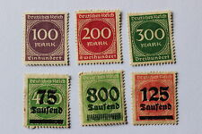 Antique German Weimar Republic, New Daily and Overprinted 6 stamps, 1923 Germany