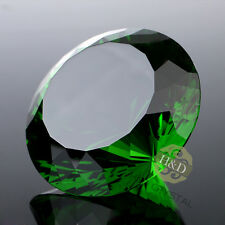 Green Huge 200MM Crystal Diamond Paperweight Ornament Centerpieces Wedding Decor