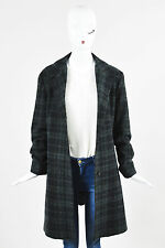 Jil Sander Green Black and Gray Wool Cashmere Silk Plaid Buttoned LS Coat SZ 42