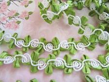6 yards White Cord Rose Flower Satin Leaf Lace Trim/dress/sewing/sew on/tool T43