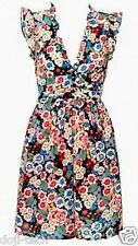 Topshop Floral Vtg Rose Flower Print Frill Cotton Smock Tea Dress 8 + 10 36 38 S